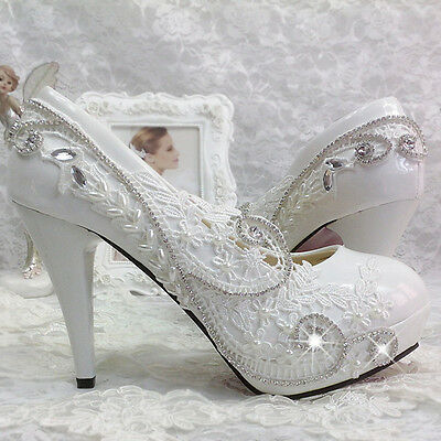 a90d0f5fa168 Details about Women Glitter Gorgeous Wedding Bridal Evening Party Crystal  High Heels Shoes