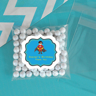 24 Super Hero Boy Personalized Clear Candy Bags Birthday Party Favors