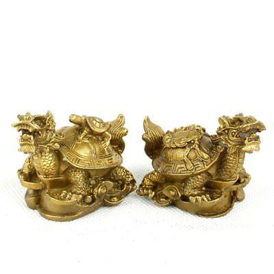 Pure brass dragon turtle mascot small statue A pair