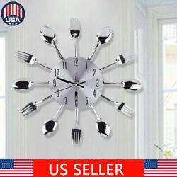 Wall Clock 3D Modern Cutlery Kitchen Spoon & Fork Wall Clock Home Kitchen Decor