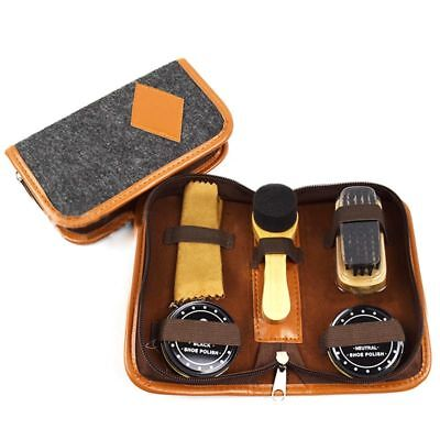 Leather Care Wooden Handle Brushes Men Shoes Cleaning Kit With Storage Bag