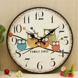 Large Wooden Owl Wall Clock Vintage Rustic Shabby Retro Home Art Decor Gift USA
