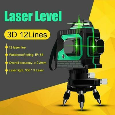 12 Line Laser Level Green Self Leveling 3D 360° Rotary Cross Measure Tool+Tripod