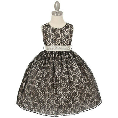 Big Girl Two Tone Lace Black Ivory Color Dress Size 10