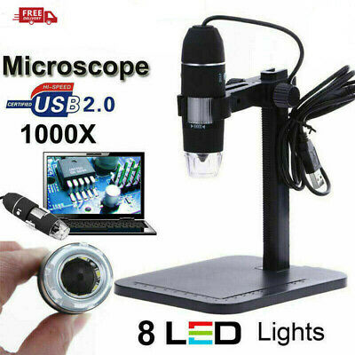 8led 1000x 10mp Usb Zoom Digital Microscope Endoscope Magnifier Camera Stand