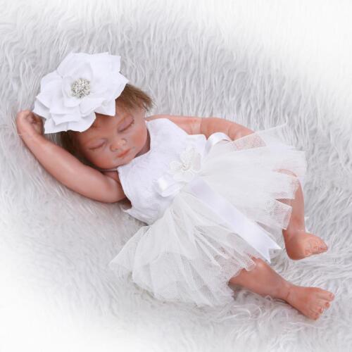 "Handmade Real Looking Newborn Baby Girl Realistic Vinyl Silicone Reborn Doll 11"""