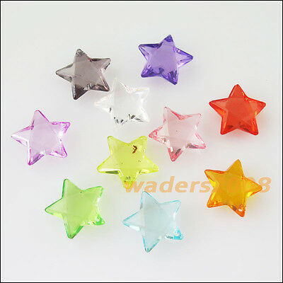 40 New Charms Plastic Acrylic Clear Star Pendants Mixed - Plastic Charms