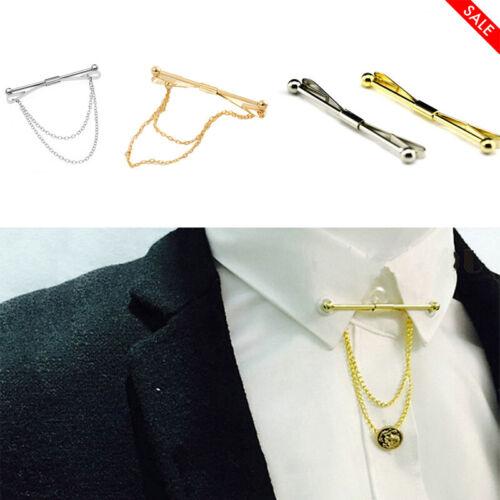 Men Necktie Shirt Collar Pin Round End Tie Clip Clasp Tassel Brooch Gift Silver Jewelry & Watches