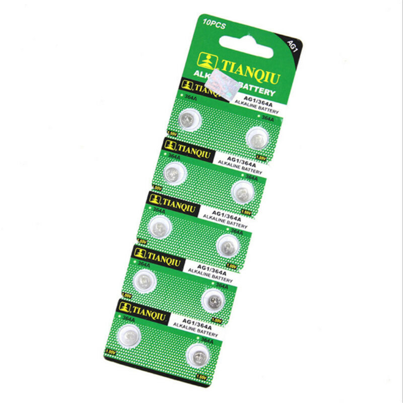 10Pcs/Lot AG1 364 LR621 164 531 SR60 SR621SW 1.5V Watch Battery Button Coin Cell