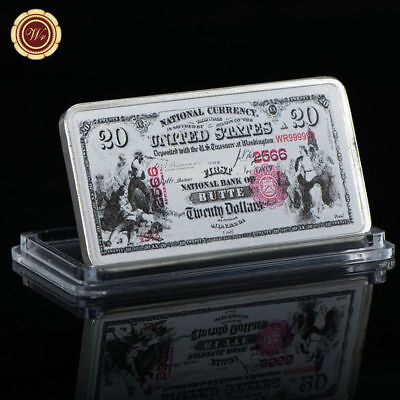 WR US National Bank of Butte 1875 $20 Colored 1 Oz Silver Art Bar Gifts For Men