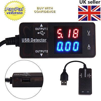 LED Digital USB Charger Doctor Voltage Current Meter Tester Power Detector UK