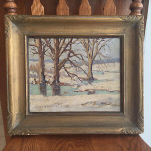 Framed, Original Oil Painting of Winter Scene