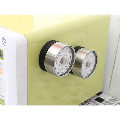 Analogue Kitchen Metal Timer with Magnet back, Steel body, clean lines