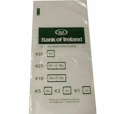 100 Plastic Money EURO Coin Bank Bags No Mixed Coins New Reusable F2BC