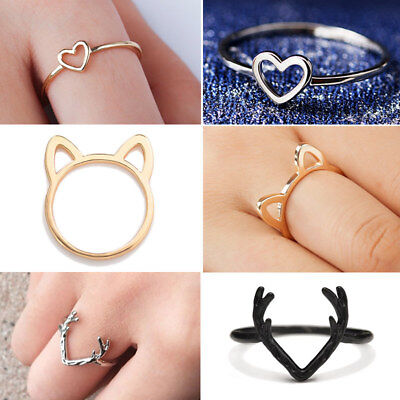 Animal Gold Ring (Women Cute Gold Silver Black Animal Hollow Cat Heart Antler Shape Ring Jewellery )