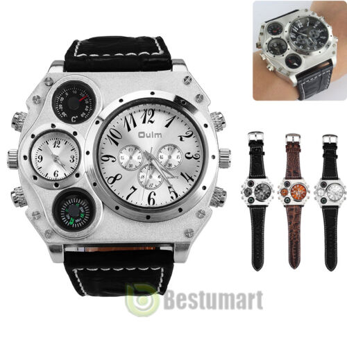 $13.59 - Men Luxury Stainless Steel Quartz Military Sport Leather Band Dial Wrist Watch