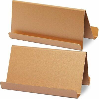 2-pack Paper Junkie Metal Business Card Holder For Desk Rose Gold
