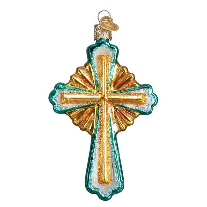 DIVINE CROSS AQUA & GOLD OLD WORLD CHRISTMAS GLASS CHRISTIAN ORNAMENT NWT 36215