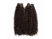 """Kinky Curly Afro Weave - 18"""" - Off Black with Natural Brown Highlights"""
