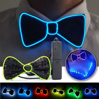 Men LED EL Wire Necktie Luminous Neon Flashing Light Up Bow Tie For Club - Led Bow Tie