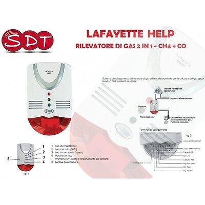 LAFAYETTE HELP RILEVATORE DI GAS 2 IN 1 - CH4 + CO CON ALLARME SONORO E VISIVO