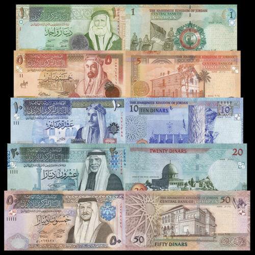 Jordan Set 5 pcs - 1 5 10 20 50 Dinars - P 34-38 - UNC