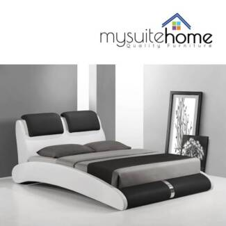 Marco PU Leather White / Black Double Queen King Size Bed