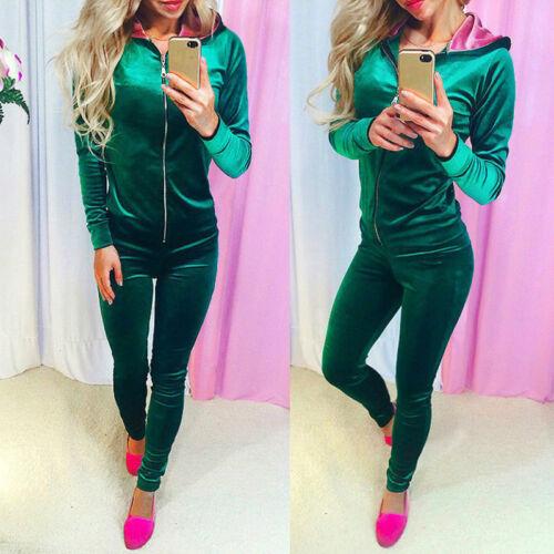 2Pcs Women Tracksuit Jacket Pants Sets Wear Velvet Zipper Suit Gym Outfits S-XL