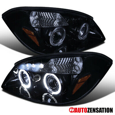 For 2005-2010 Chevy Cobalt Glossy Black Smoke LED Dual Halo Projector Headlights