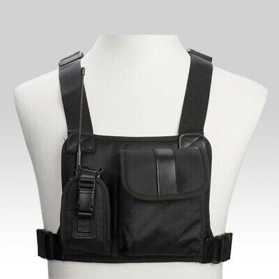 Radio Chest Rig Harness Bag Holster Walkie Talkie Holder Front Pocket Pack Vest