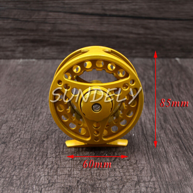 Yellow 85mm 5/6 Aluminum Fly Fishing Reel Trout Fishing Left or Right Handed USA