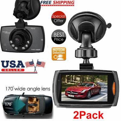 """2x Dash Cam 2.4"""" LCD Car DVR Driving Recorder Camera Full HD 1080P Vehicle Video"""