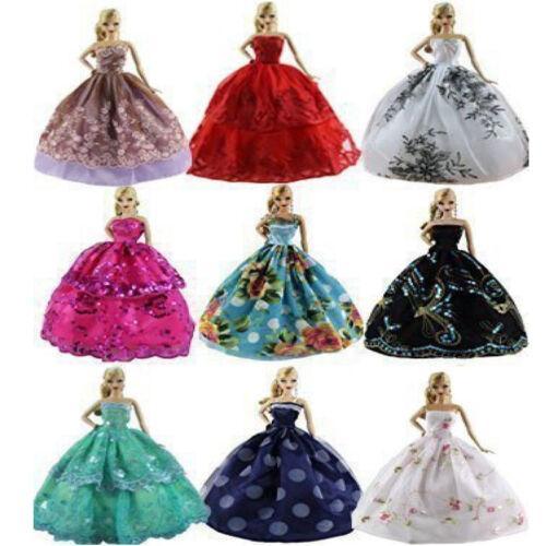 6xPrinzessin Party Kleid Kleider Kleidung Minikleid Zubehör Für Barbie Spielzeug