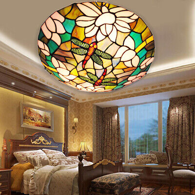 Flush Mount Light Fixture Tiffany Lighting Stained Glass Ceiling Chandelier Lamp