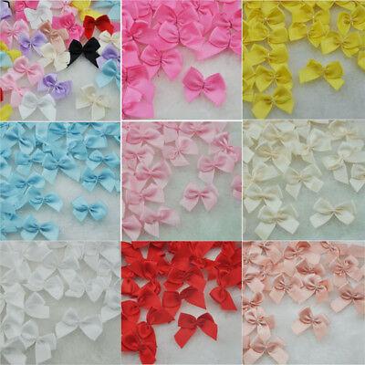 20-100Pcs Mini Satin Ribbon Flowers Bows Gift Craft Wedding Decoration ornament