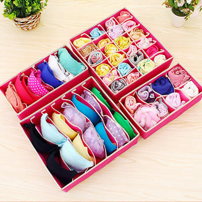 4 Foldable Organizer Drawer Storage Box Case For Bra Ties Underwear Socks SF