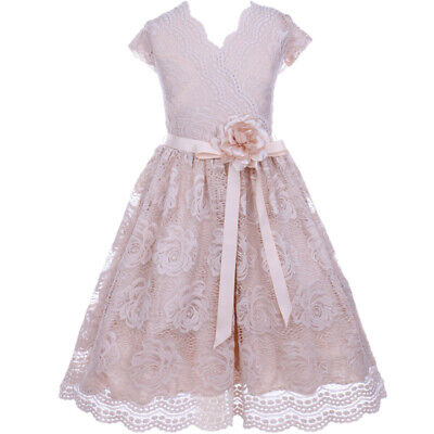 CHAMPAGNE Flower Girl Dress Birthday Wedding Recital Gown Homecoming Dance Party