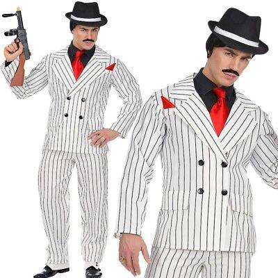 Mafia Gangster 2 teil. Anzug  XL (54/56) Herren Kostüm weiss Nadelstreifen (Gangster Anzug)