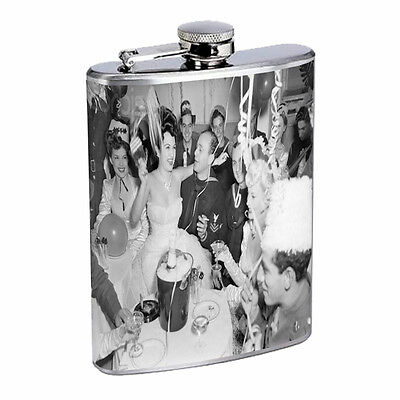 Vintage New Years Eve D2 Flask 8oz Stainless Steel Hip Drinking Whiskey  - New Years Eve Drinks