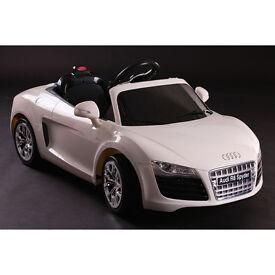 Licensed Audi R8 Spyder 12v Kids Ride on Car with Remote - White