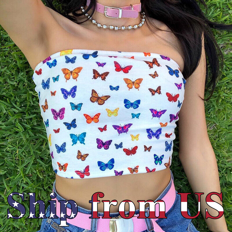 Summer Beach Crop Tube Top Elastic Strapless Tight Stretch Bodycon Top Shirt US Clothing, Shoes & Accessories