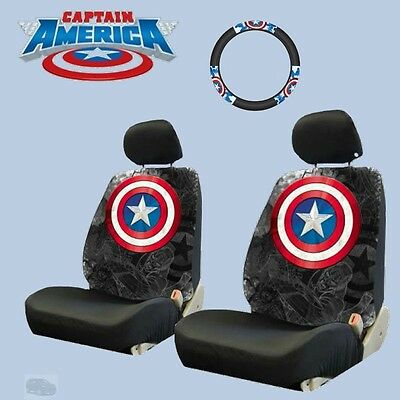 For CHEVY New Marvel Comic Captain America Car Seat and Steering Wheel Cover