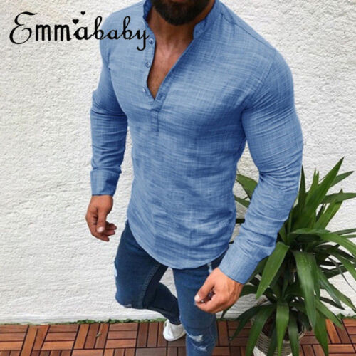 74613729 Men's Slim Fit V Neck Long Sleeve Muscle Tee T-shirt Casual Tops ...