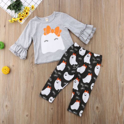 US Toddler Infant Baby Girl Top T-shirt Pants Trousers Hallo
