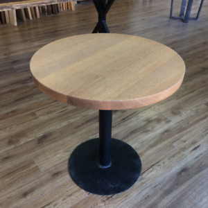Solid maple and oak end/dining tables, pedestal style