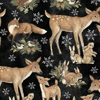 Woodlands Fabric, Deer Bunnies Birds Fox Quilting Sewing, 100% Cotton, Sold BTHY