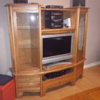 Solid wood TV entertainment unit-MUST GO TODAY!