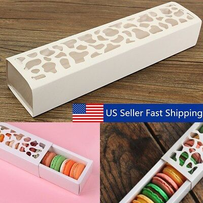 10 Sets White Hollow Macaron Cake Packing Boxes Cookie Container Cupcake Storage - Cake Box