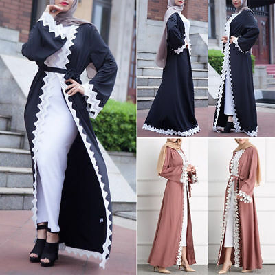 Abaya Muslim Women Dress Islamic Lace Maxi Cardigan Long Robe Gown Tunic Ramadan