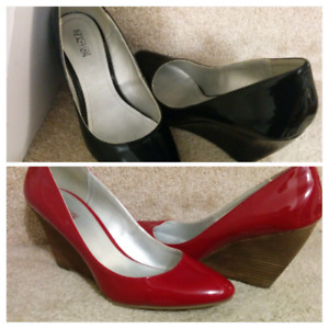 2 pairs of red and black pointed-toe pumps